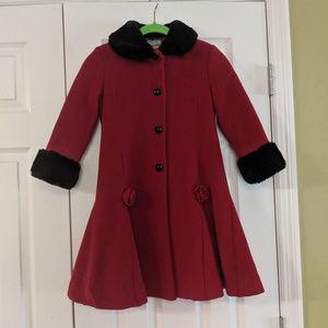 Girls Rothschild 100% Wool Red Dress Coat Size 6